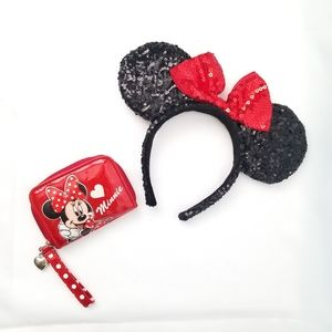 Minnie Mouse Sequin Ear Headband  & mini wallet